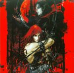 2boys armband artbook ayami_kojima bat belt bishounen black_hair buckle_straps cape castle castlevania castlevania_chronicles chainmail chains charcoal_(medium) dracula fighting_stance fingerless_gloves fingernails full_moon gloves gothic high_collar highres holster iron_cross kojima_ayami konami leather long_fingernails long_hair looking_at_viewer male_focus moon multiple_boys muscle night night_sky official_art oil_painting_(medium) orange_eyes pale_skin pointy_ears red_moon redhead scan sheath sheathed simon_belmondo sky studded_leather sword thorns traditional_media vampire weapon whip white_skin
