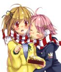 2girls ahoge blonde_hair blush cat_hair_ornament closed_eyes earmuffs eating food hair_ornament hair_ribbon hinohino multiple_girls one_side_up original pink_hair red_eyes ribbon scarf shared_scarf simple_background striped striped_scarf takoyaki upper_body white_background