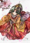 aquamarine bow cherry_blossoms doll green_eyes green_hair hair_bow hair_ornament higurashi_no_naku_koro_ni japanese_clothes kimono kneeling long_hair maebara_keiichi ponytail sonozaki_mion sonozaki_shion
