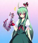 ex-keine female fujiwara_no_mokou green_hair harano horn_ribbon horns kamishirasawa_keine long_hair minigirl purple_hair ribbon touhou