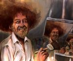 1boy afro beard bob_ross creepy easel empty_eyes facial_hair nekokun original paintbrush painting palette real_life real_life_insert recursion trim_brush