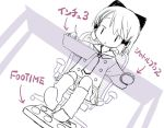 1girl desk kiira lowres monochrome original purple ribbon short_hair shuttle_pro_2 solo stylus tablet translated wacom