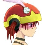 40010prototype akazukin brown_eyes feathers helmet otogi-jushi_akazukin profile redhead short_hair twintails