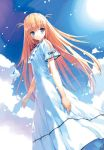 blue_eyes clouds dress long_hair lowres sky ueda_ryou