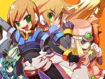 brown_hair girouette green_eyes pandora pandora_(rockman) prairie prometheus rockman rockman_zx short_hair simple_background spandex vent