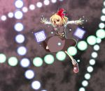 belt blonde_hair danmaku fang flying hair_ribbon open_mouth outstretched_arms red_eyes ribbon rumia sanshirou short_hair smile solo spread_arms touhou