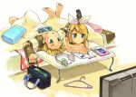 bed blonde_hair blue_eyes cellphone clock clothes_hanger detached_sleeves hair_ornament hairclip headset kagamine_len kagamine_rin lying phone remote ribbon short_hair siblings sopra twins vocaloid
