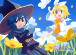 blue_eyes blue_hair butterfly flower glasses hair_ribbon hat kagamine_rin kaito ribbon scard scarf short_hair verus vocaloid witch_hat