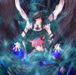 black_hair bow braid cat_ears hair_bow kaenbyou_rin long_hair maki_(artist) maki_(seventh_heaven_maxion) pink_hair reiuji_utsuho short_hair touhou twin_braids twintails wings