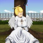 angel_wings blonde_hair blue_eyes breasts cleavage dondo erect_nipples halo highres huge_breasts short_hair sleeping snake wings