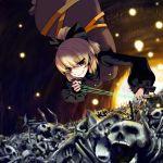 bone bones bow brown_eyes danmaku hair_bow highres kurodani_yamame oyaji_kusa short_hair skull smile smirk thread touhou tsurime upside-down