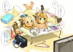 blonde_hair blue_eyes clock clothes_hanger detached_sleeves hair_ornament hairclip headset kagamine_len kagamine_rin lying short_hair siblings sopra translated translation_request twins vocaloid