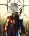 1boy blue_eyes capcom devil_bringer devil_may_cry devil_may_cry_4 elbow_gloves fire gloves hair_over_one_eye male_focus memememe nero_(devil_may_cry) red_queen_(sword) solo sword weapon white_hair