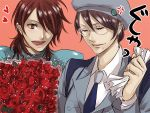 1boy 1girl bad_id flower glasses gori_matsu gundam gundam_00 kati_mannequin patrick_colasour red_rose rose upper_body