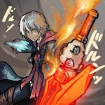 1boy blue_eyes capcom devil_bringer devil_may_cry devil_may_cry_4 fire grin headphones male_focus memememe nero_(devil_may_cry) red_queen_(sword) silver_hair smile solo sword weapon white_hair