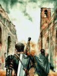 90s armor berserk black_hair cape casca dragonslayer_(sword) guts long_hair ruins short_hair sword weapon