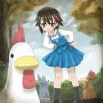 1girl bird brown_hair chicken highres isurugi_noe jibeta rabbit raigomaru short_hair true_tears zakone