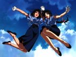 2girls black_hair brown_hair gloves jumping kobayakawa_miyuki multiple_girls police police_uniform policewoman ribbon sky tsujimoto_natsumi uniform white_gloves you're_under_arrest