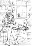 1girl book broom cactus chin_rest glasses graphite_(medium) kamiya_maneki monochrome plant reading sitting sketch solo thigh-highs traditional_media window zettai_ryouiki