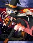 1girl absurdres arm_warmers bat_wings black_legwear blue_eyes buttons cape fang halloween hat hat_ribbon highres huge_filesize jack-o'-lantern large_buttons little_busters! long_hair na-ga noumi_kudryavka oversized_button pocket_watch pumpkin ribbon silver_hair solo thigh-highs watch wings witch_hat
