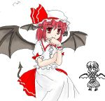 2girls anger_vein cosplay costume_switch female head_wings jpeg_artifacts koakuma koakuma_(cosplay) multiple_girls pointy_ears remilia_scarlet remilia_scarlet_(cosplay) tail the_embodiment_of_scarlet_devil touhou wings