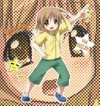 1girl :d arm_up brown_eyes brown_hair capri_pants full_body hiiragi_matsuri jacket lucky_star open_mouth pants pose shoes smile socks solo tekehiro white_legwear zoom_layer