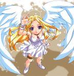 1girl angel angel_wings arms_up blonde_hair blue_eyes bridal_gauntlets choker dress from_above gem halo kamiya_maneki long_hair looking_up solo standing wings