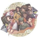 3girls 5boys bandanna beret black_hair brown_eyes buttons cat closed_eyes closed_mouth conductor expressionless facial_hair flag formal glasses ground_vehicle hat ichikawa_setsuko lips lipstick long_hair long_sleeves looking_at_viewer lowres makeup mononoke multiple_boys multiple_girls mustache rimless_glasses short_hair sidelocks suit train upper_body vehicle watase