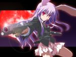 1girl animal_ears blazer dual_wielding female gun handgun lavender_hair lens_flare long_hair m1911 moon necktie pistol pleated_skirt rabbit_ears red_eyes red_moon reisen_udongein_inaba semiautomatic skirt solo touhou weapon yamano_sachi