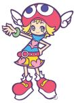 1girl amitie amitie_(puyopuyo) arm_up belt blonde_hair bracelet flipped_hair green_eyes hand_on_hip hat head_wings jewelry lowres official_art puyo_pop_fever puyopuyo puyopuyo_fever red_hat sega short_hair shorts simple_background smile solo sonic_team takenami_hideyuki watermark white_background wings