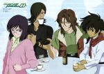 4boys absurdres alcohol allelujah_haptism angry beer belt black_hair bottle brown_hair closed_eyes coffee cup dark_skin dark_skinned_male drink drinking_glass frown fur glasses gloves grey_eyes gundam gundam_00 hair_over_one_eye highres lockon_stratos male_focus milk morishita_hiromitsu multiple_boys official_art plate purple_hair red_eyes scan scarf setsuna_f_seiei shirt smile spoon t-shirt teacup tieria_erde vest wristband zoom_layer