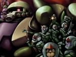 6+boys caryo denim_(gundam) denim_(mobile_suit_gundam) dom gun gundam helmet machine_gun mecha mobile_suit_gundam multiple_boys pilot_suit tabigarasu weapon zaku zaku_ii zaku_ii_f zaku_ii_f/j ziin