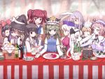 6+girls alice_margatroid animal_ears blonde_hair bottle dango everyone female fine_art_parody fish food hakurei_reimu highres houraisan_kaguya kirisame_marisa konpaku_youmu konpaku_youmu_(ghost) mochi multiple_girls onigiri onozuka_komachi parody patchouli_knowledge rabbit_ears reisen_udongein_inaba rod_of_remorse saigyouji_yuyuko sake_bottle shiki_eiki teapot the_last_supper touhou wagashi yagokoro_eirin zakone