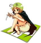 1girl antennae bad_id barefoot cape feet female green_eyes green_hair k_no_hito manicure nail_clippers soles solo toes touhou wriggle_nightbug
