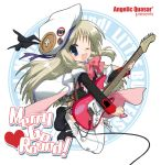 1girl bow buttons cape electric_guitar fang guitar hat hizuki_yayoi instrument large_buttons little_busters! long_hair noumi_kudryavka one_eye_closed pink_bow plaid plaid_skirt silver_hair skirt solo thigh-highs wink