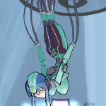 1girl android blue_hair breasts cable captain captain_(artist) glados glados-tan hanging hanging_breasts huge_breasts lowres personification portal robot robot_girl solo spoilers valve yellow_eyes
