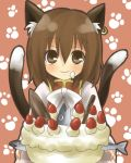 1girl animal_ears brown_eyes brown_hair cake cat_ears cat_tail chen earrings female fish food jewelry kiji_(manekinuko-tei) lowres multiple_tails pastry smile solo tail touhou