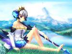 1girl barefoot crown dress feet gwendolyn hat mountain odin_sphere polearm sitting solo spear strapless strapless_dress takashima weapon wings