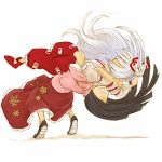 2girls black_hair bow cervus dragon_suplex female fujiwara_no_mokou full_nelson hair_bow houraisan_kaguya long_hair lowres multiple_girls pants ponytail shirt shoes simple_background skirt suplex suspenders touhou very_long_hair white_background white_hair wrestling