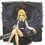 black_wings blonde_hair cervus ex-rumia female huge_weapon legs_crossed red_eyes ribbon rumia sitting sword the_embodiment_of_scarlet_devil touhou weapon wings youkai