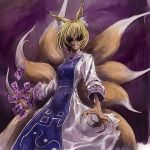1girl animal_ears blonde_hair cervus claws creepy dark evil female grin multiple_tails no_hat no_headwear smile solo surcoat tail touhou yakumo_ran you_gonna_get_raped