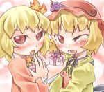 2girls :o ;d aki_minoriko aki_shizuha bangs blonde_hair blush chestnut_mouth choker female food fruit gift grapes hair_ornament hat holding holding_gift leaf_hair_ornament long_sleeves looking_at_viewer lowres multiple_girls nyagakiya one_eye_closed open_mouth red_eyes ribbon_choker short_hair siblings sisters smile touhou upper_body