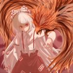 1girl bird female fujiwara_no_mokou long_hair oekaki phoenix red_eyes silver_hair solo suspenders touhou very_long_hair
