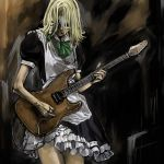 1girl cervus cosplay crossdressing female guitar instrument izayoi_sakuya izayoi_sakuya_(cosplay) kirisame_marisa maid mask parody sekken-ya shuuzou solo touhou