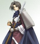 1boy armor benawi black_hair black_legwear blue_eyes breastplate cape fingerless_gloves gloves haunter looking_at_viewer male_focus pointy_ears shoulder_pads simple_background solo tunic upper_body utawareru_mono
