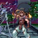 1boy 80s blonde_hair blue_eyes castlevania cross headband lightning long_hair male_focus masao medusa_head monster oldschool open_mouth shoulder_pads simon_belmondo skeleton solo torn_clothes video_game whip