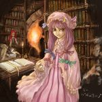 2girls book bookshelf bow cervus female head_wings koakuma library multiple_girls patchouli_knowledge pink_bow the_embodiment_of_scarlet_devil touhou voile