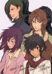 4boys allelujah_haptism black_hair brown_eyes brown_hair glasses green_eyes gundam gundam_00 kouga_yun lockon_stratos lowres male_focus multiple_boys official_art purple_hair red_eyes setsuna_f_seiei tieria_erde yun_kouga