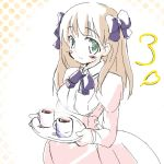 amatsuka_haruka baby_princess blush bow brown_hair green_eyes hair_bow heart kojima_tsuma long_hair lowres maid simple_background tray