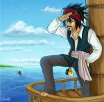 2boys bags_under_eyes barefoot boat clouds cosplay death_note disney facial_hair goatee hani06 hani7 headband jack_sparrow jack_sparrow_(cosplay) l_(death_note) male_focus multiple_boys mustache ocean parody pirate pirates_of_the_caribbean ryuk signature sky